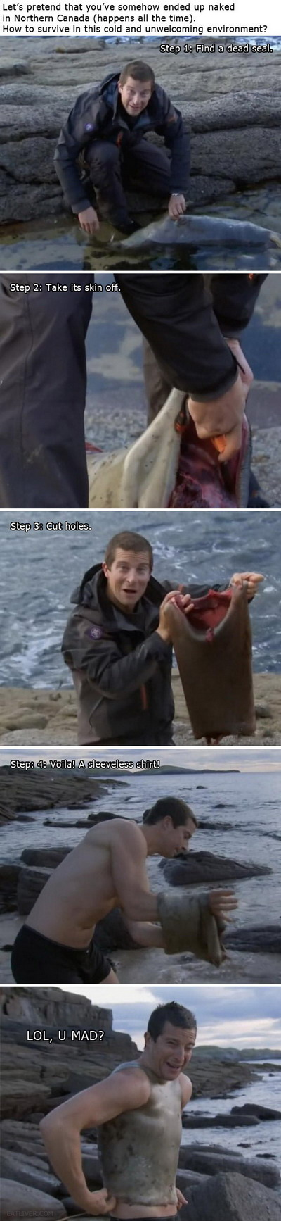 Funny Survival tip from Bear Grylls : Man Vs Wild