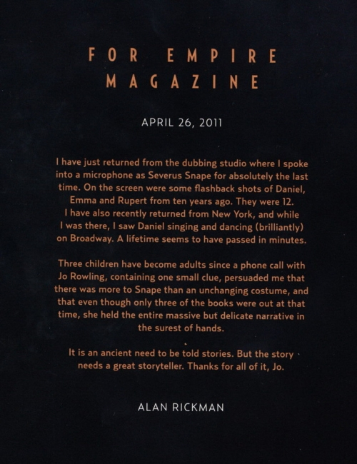 Alan Rickman's goodbye letter to Harry Potter