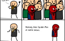 How is Spider-Man treated at metal shows?
