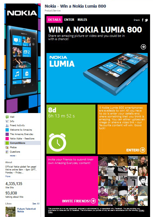 Facebook Nokia Lumia 800 Contest