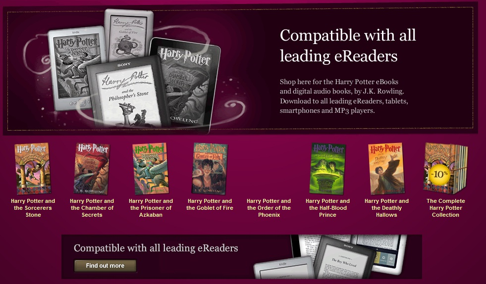 Harry Potter Book Kindle Free : Harry potter e books now available to kindle and nook devices