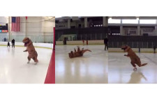 Ice Skating T-rex Mascot send Good Vibes [Cute Video]